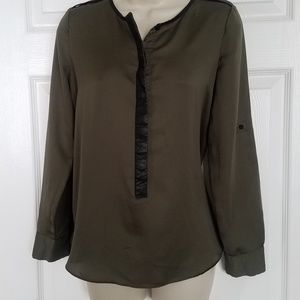 Metaphor Olive Green Long Sleeve Blouse